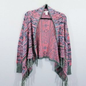 Belle du jour Tribal Open Front Cardigan Sweater